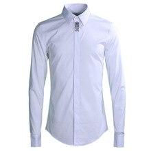Новое поступление, модные мужские повседневные рубашки с длинными рукавами и вышивкой, ручная роспись, высококачественный хлопок, большие размеры, M L XL 2XL 3XL 4XL