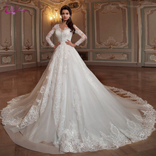 Waulizane A Line Wedding Dress Full Sleeve Court Train
