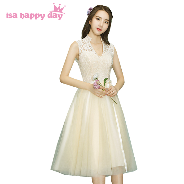 womans short beautiful champagne v neck prom formal occasion dress ...