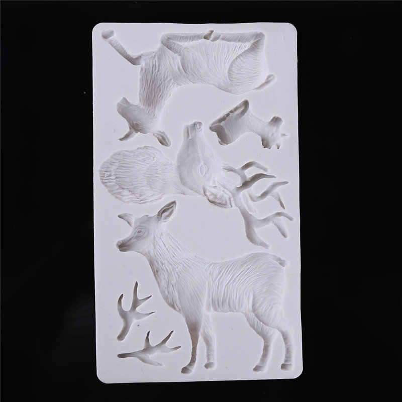 ยอดนิยมขายร้อน 3 Hole Christmas Reindeer Deer Fondant แม่พิมพ์เค้กช็อกโกแลต Mould สำหรับห้องครัวเบเกอรี่เครื่องมือเค้กตกแต่ง