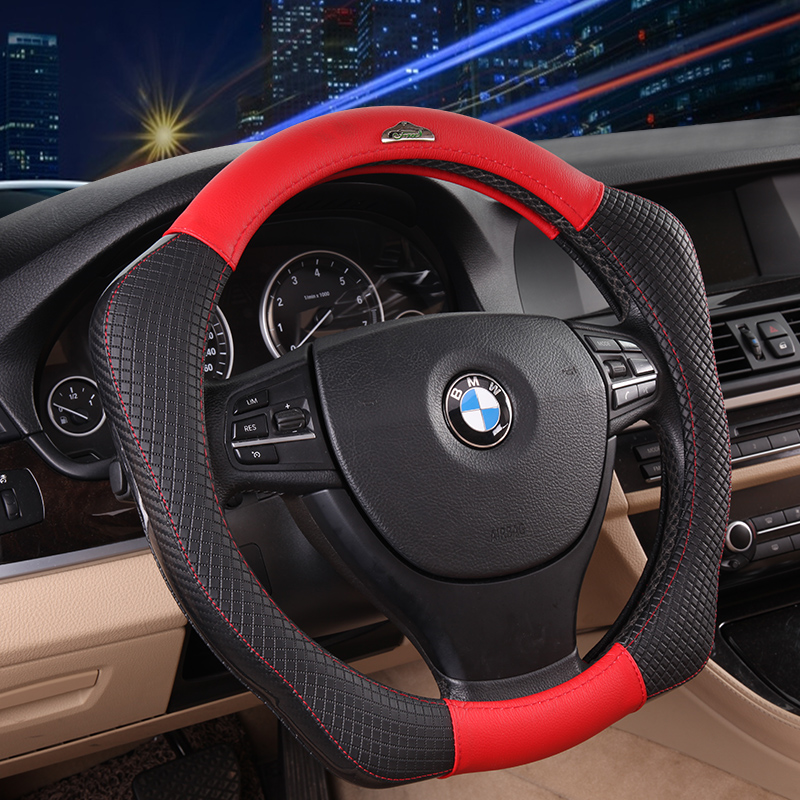 D Shape Luxury Sport Style Genuine Leather Anti-slip Car Steering Wheel Cover Interior Styling for BMW Benz VW 38cm Universal