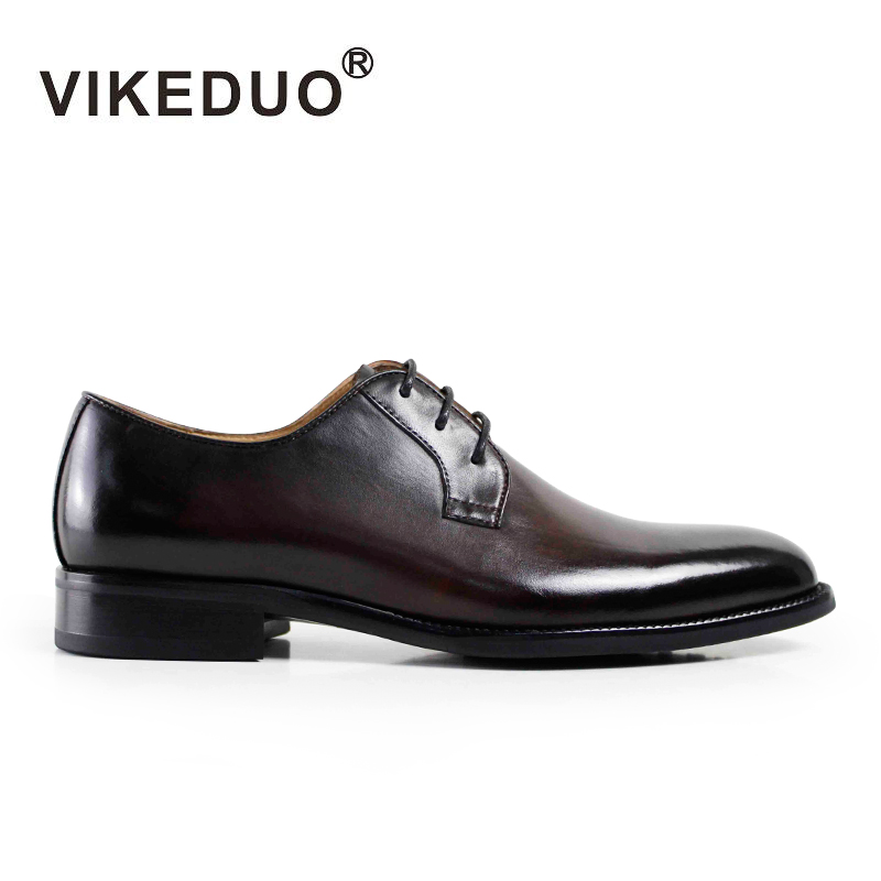 Vikeduo 2018 New Men Derby Shoes Brown Lace-up Dress Shoe For Male Genuine Leather Wedding Office Party Handmade Zapato Vintage new arrival mens fashion wedding party dress genuine leather derby shoes breathable lace up oxfords shoe crocodile pattern male
