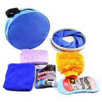 Car Cleaning Kit IncludeFolding Buckets Gloves Compressed Sponges Car Wash Powder Deerskin Towel Cleaning Car Oxford