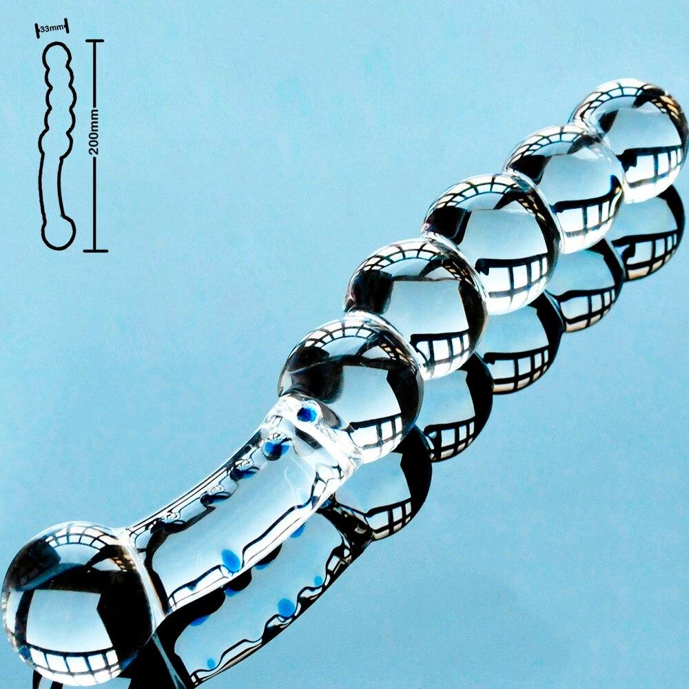 5 beads crystal artificial penis pyrex glass fake female dick anal dildo butt plug adult masturbator sex toys for gay women men