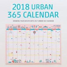 1 pc novo coreano dos desenhos animados criativo bonito calendário de parede 2018 a2 365 dia calendário criativo agenda planejamento papel 59*43cm