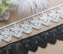 Handmade DIY Garment Accessories Japanese version water soluble silk thread Black and white Rose embroidery lace width 4cm