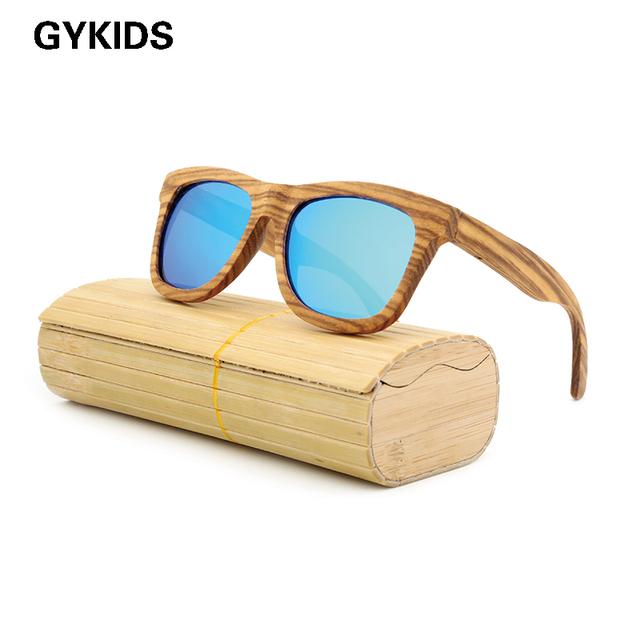 The new 2016 del correo del paquete de moda restaurar maneras antiguas hombre protección del medio ambiente natural de bambú de madera gafas de sol polarizadas