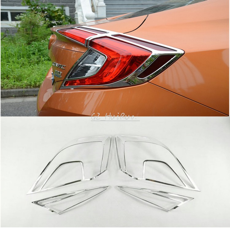 Rear Tail Light Lamp Eeylid Cover For Honda Civic 10th Gen 4dr Sedan 2016 2017 hot car abs chrome carbon fiber rear door wing tail spoiler frame plate trim for honda civic 10th sedan 2016 2017 2018 1pcs