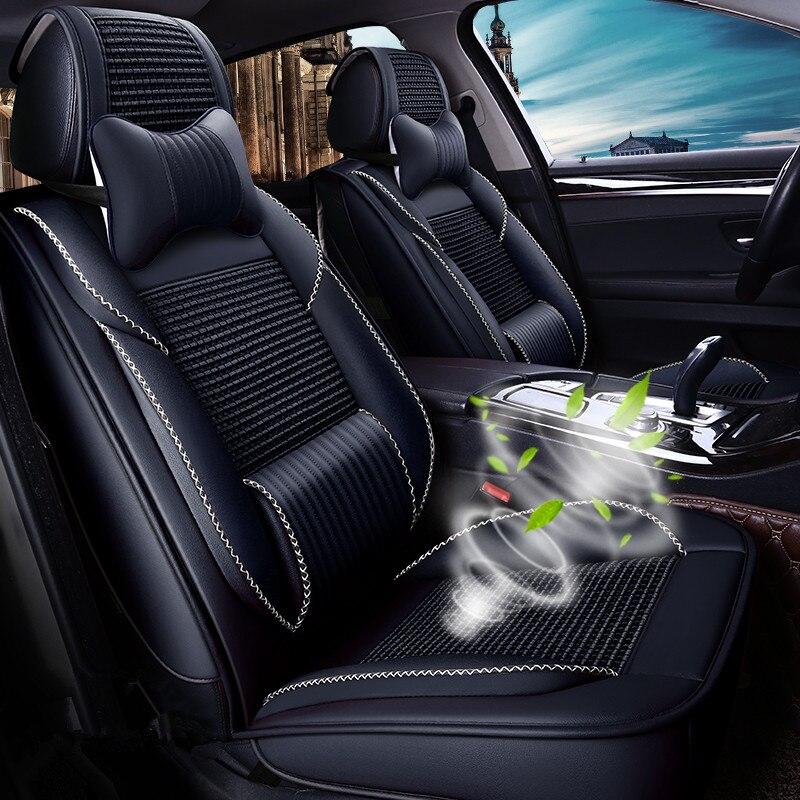 CHE AI REN de Assento De Seda Gelo Tampa de Assento Do Carro de Couro Respirável Cobre Automotivo Para Acessórios Interiores Do Carro Universais 5 Lugares