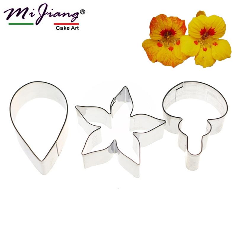 3 teile / satz Blütenblatt Form Zuckerpaste Edelstahl Metall Ausstecher Kuchen Fondantform DIY Backen Dekorieren Tools A399