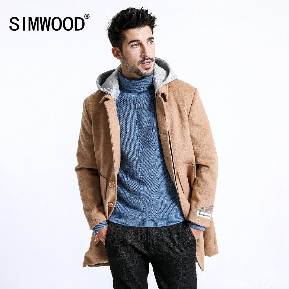 SIMWOOD Новинка зимы шерстяное пальто для мужчин шляпа съемная длинные вышитые рукава смесь шерсти куртки плюс размеры Одежда 180610