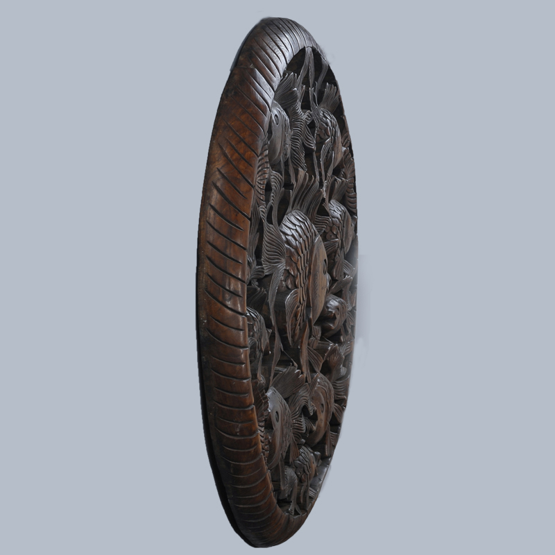 US $0 45 |Thailand wood crafts wood carving Home Furnishing hanging  handmade Southeast Asian style teak carved goldfish circular plate-in  Plaques &