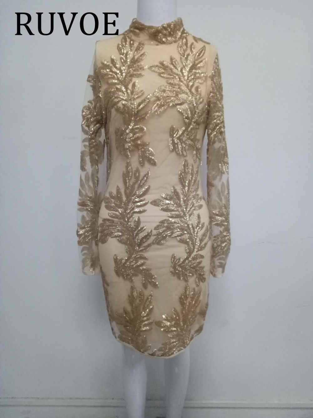 6c033405935 ... Sexy Gold Mini Dress Bodycon Sequin New Year Party Dress Long Sleeve  High Neck Bodycon Nigh ...