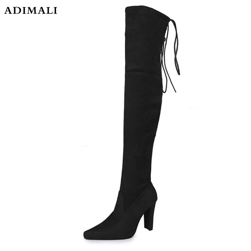 Hot warm Thigh High Boots Female Winter Boots Women Over the Knee Boots Flat Stretch Sexy Fashion Shoes Size 35--41 stivali donn 2014 autumn and winter fashion women s knee high boots warm boots flat shoes sexy high boots women s boots xy086