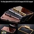 Caso espelho para sony z1 aluminum bumper quadro para sony xperia z1 z2 z3 compact z3 z5 z5 compacto xa m4 aqua acrílico de volta cobrir