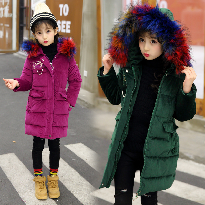 2018 New Girls Long Padded velour kids Winter Coat girls Warm Thickening with fur Coats For Teenage Outwear -30 winter coat шапка женская paccia цвет коричневый nr 21714 4 размер 55 58