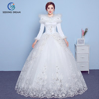 2017 New Winter Off White Cheap Sexy Fur Collar Ball Gown Dress Wedding Dress Zipper Bride