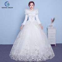 2017 New Winter Off White Cheap Sexy Fur Collar Ball Gown Dress Wedding Dress Zipper Bride