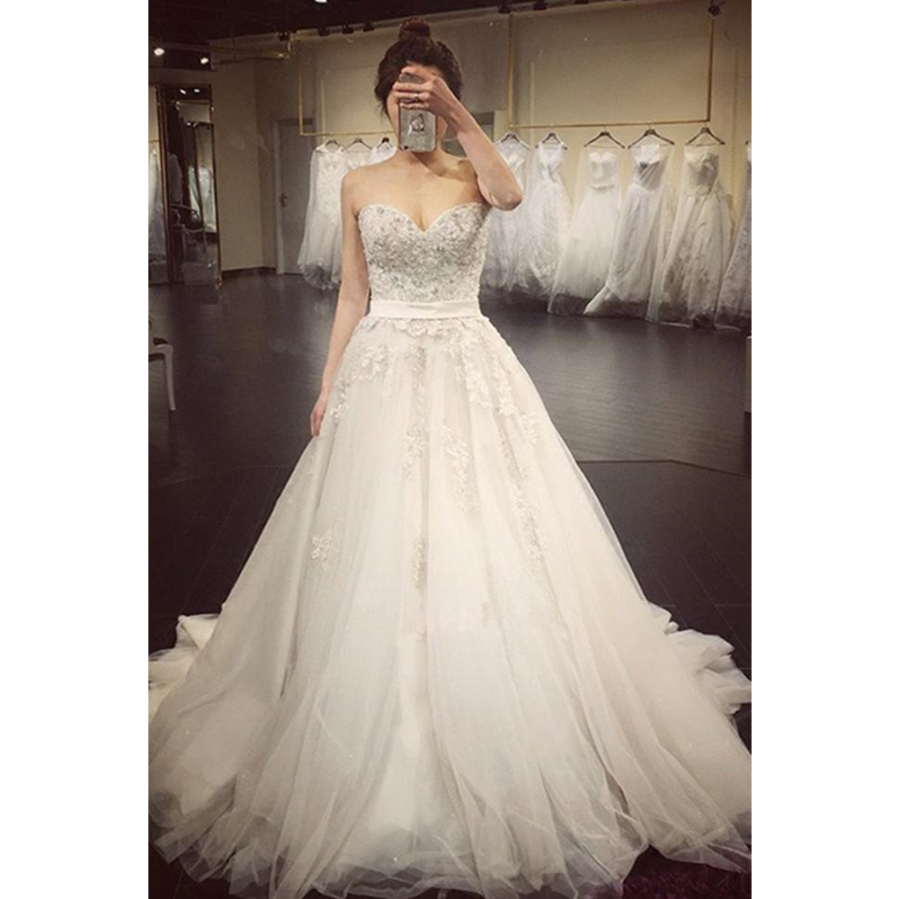 Sweetheart Wedding Dresses Sleeveless Applique Open Back Lace Up A Line Floor Length Sweep Train Bridal