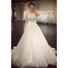 מתוקה חתונת שמלות ללא שרוולים Applique גב פתוח תחרה עד קו רצפת אורך לטאטא רכבת כלה שמלת Vestido דה Noiva
