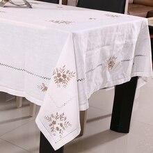 Linen Cotton Embroidery  Round Tablecloth For Table Decor Christmas Mantele Para Mesa Nappe Bugaboo Toalha De