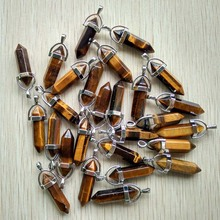 Wholesale 24pcs/lot 2018 high quality assorted natural stone mixed pillar charms chakra Pendants & necklaces for making free