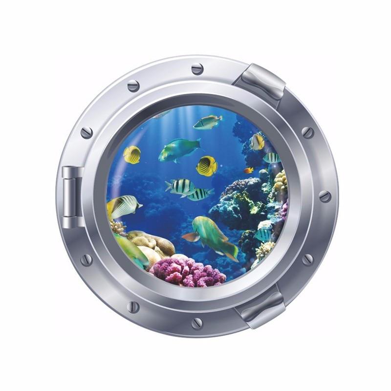 3D Hublot fenêtre Dauphin Reef Coral Fish Autocollant Mur Affiche Vinyl GA25-379