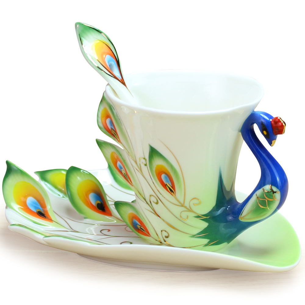 Chinese Ceramic Enamel Porcelain Peacock Coffee Mug Lover Cup Saucer  Christmas Wedding Valentineu0027s Day Ideas Gift LY 020 In Mugs From Home U0026  Garden On ...