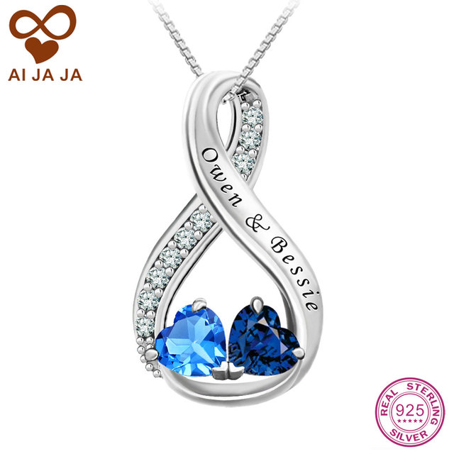 483ebb7aa2 AIJAJA 925 Sterling Silver Infinity Necklaces Pendants Personalized Couple  Names Engraving Birthstones Necklace Chain For Lover
