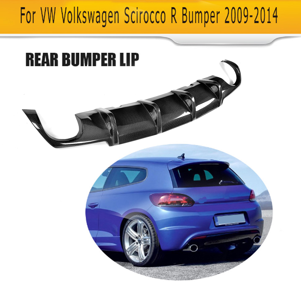 Carbon fiber car rear lip diffuser For Volkswagen VW Scirocco R R20 Bumper 2009 2014 Black FRP dual exhaust one outlet
