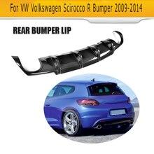 Carbon fiber car rear lip diffuser For Volkswagen VW Scirocco R R20 Bumper 2009-2014 Black FRP dual exhaust one outlet цена 2017