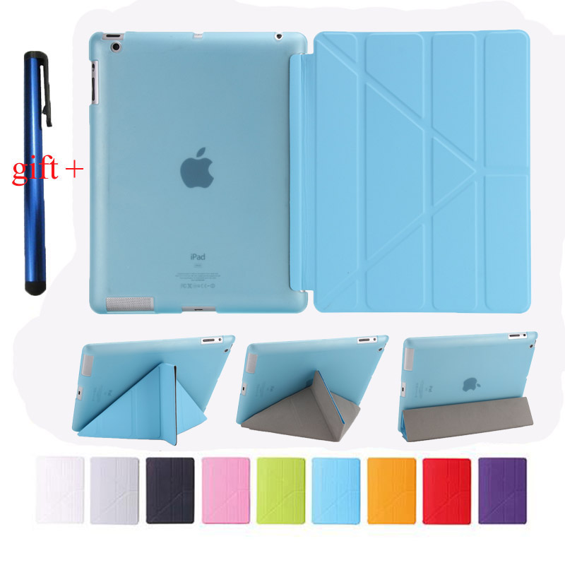 PU Leather Smart Case for apple Ipad 2 3 4  9.7 inch Auto Sleep + Soft TPU Bottom Cover Protect For New Ipad 3 4 + Stylus Gift for apple ipad air 2 case pu tpu cover ultra thin smart wake up sleep 9 7 inch for ipad 6 soft full protect stand case stylus