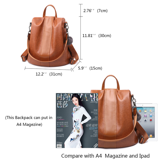 HERALD FASHION Quality Leather Anti-thief Women Backpack Large Capacity Hair Ball School Bag for Teenager girls Male Travel Bags 4