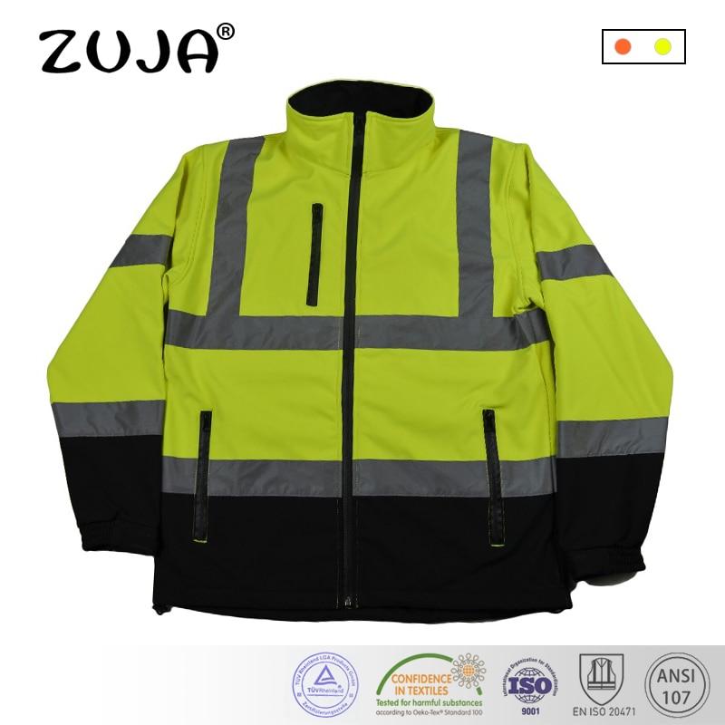 Men Outdoor Multi-pockets Reflective Safety Work Jacket Construction Traffic Warm Workwear