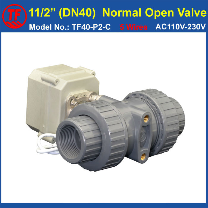 PVC 11/2'' Normal Open Valve TF40-P2-C AC110V-230V 5 Wires 2 Way DN40 BSP or NPT Thread 10NM On/Off 15 Sec Metal Gear CE IP67 все цены