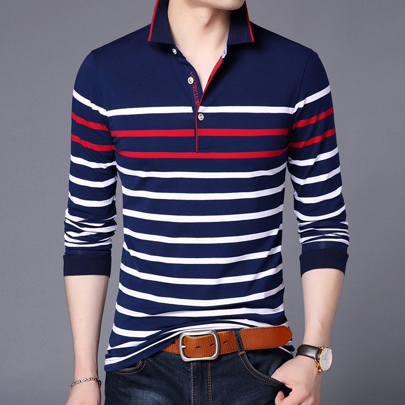2020 New Fashions Brand Polo Shirt Mens Striped Long Sleeve Mercerized Cotton Slim Fit Stand Color Polos Casual Men's Clothing