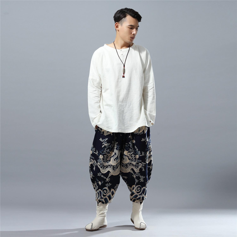 Jambe Mâle Style Impression Pantalon Chine Mode Lin Dragon Lâche Hommes Décontracté Jogger Large Casual Bleu Harem vaxr8at