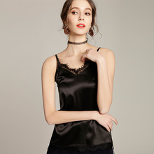 Summer Silk Tank Top 2018 Women Sexy V Neck Basic Tops Blusas Casual Womens Vest Lace Camisole Crop Tops Plus Size Female Shirt