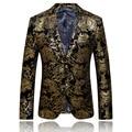 Figurinos Para Os Cantores de ouro Blazer Para Os Homens Mens Blazer Bordado de Luxo Da Marca Mens Jaqueta Blazer Vestido De Casamento Do Baile Q51