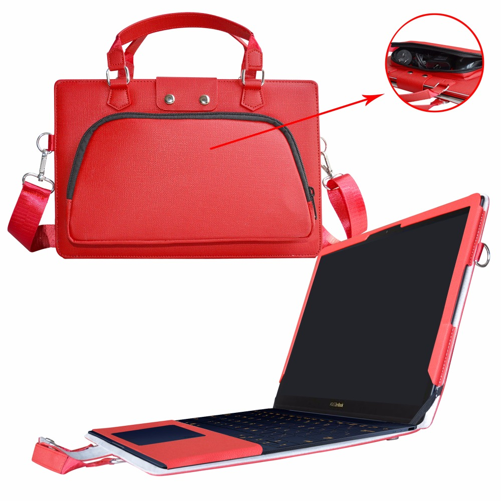 Accurately Designed Protective PU Leather Cover + Portable Carrying Bag For 12.5 ASUS ZenBook 3 UX390UA Series Laptop