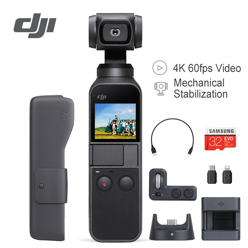 DJI Osmo Pocket Stabilizer 3 Axis Handheld Gimbal Camera With 4K 60fps Video Compatible with Smartphone iPhone X Expansion Kit