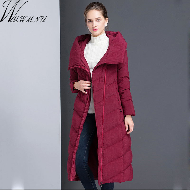 Wmwmnu 2017 winter fashion women's long hooded 90% white duck down jacket female warm coat parkas outerwear good quality coats top quality fashion parent child 90% white duck down jacket medium long mother and son hooded cotton padded down family coats