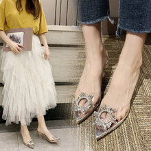 Women Pumps Sexy Sandals Crystal Slip-On Transparent Rhinest