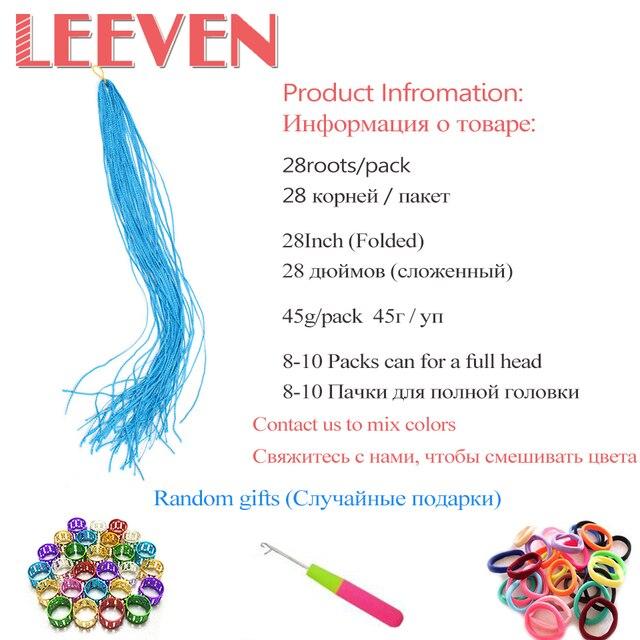 Leeven 28'' Braiding Hair Long Colorful Synthetic Zizi Box Braids Crochet Hair Extension Pink Write Purple Fiber 45g 1