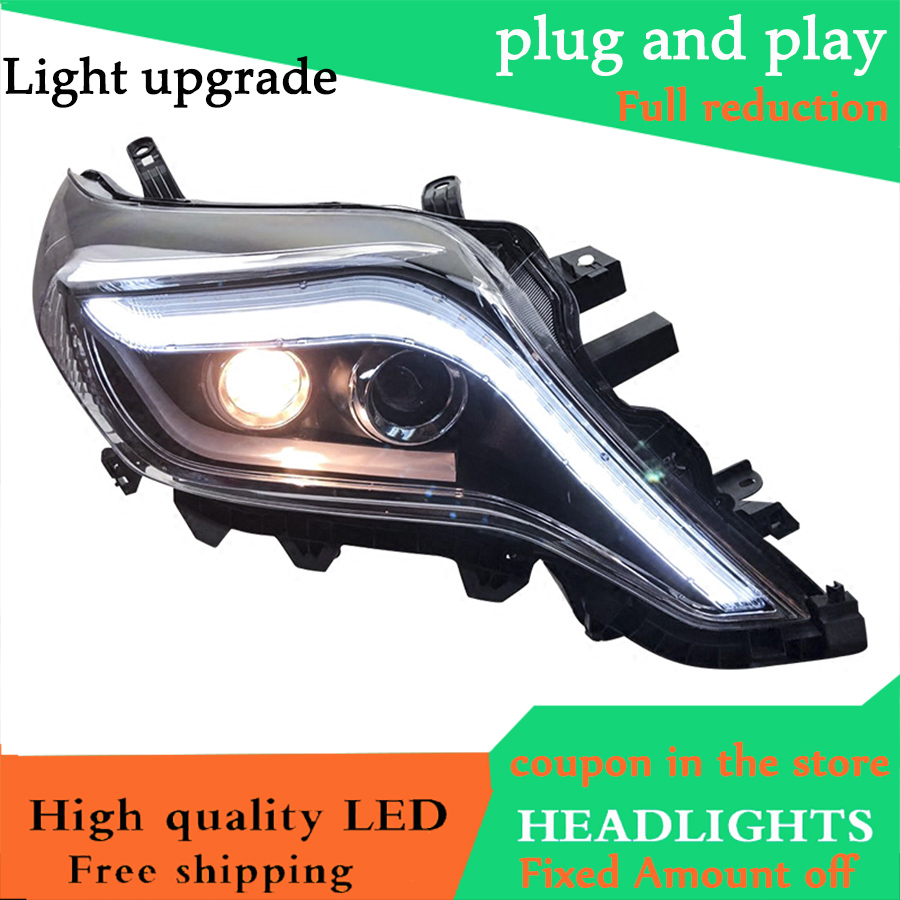 Car Styling For Toyota Prado Headlights 14 17 New Prado LED Headlight DRL Lens Double Beam