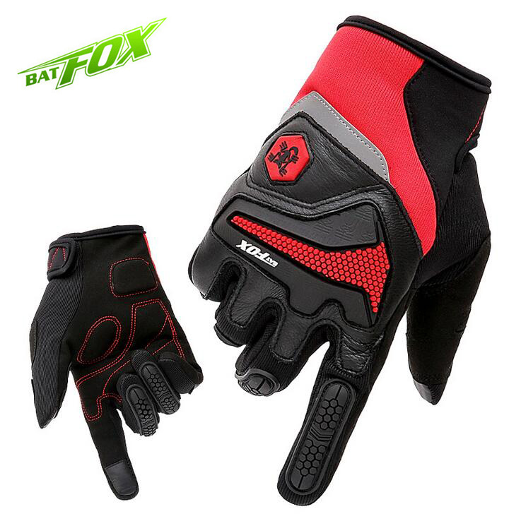 BATFOX Winter Cycling Gloves Full Finger Bike Bicycle Gloves Touch Screen Lycra Leather Windproof Outdoor Sports Men Gloves