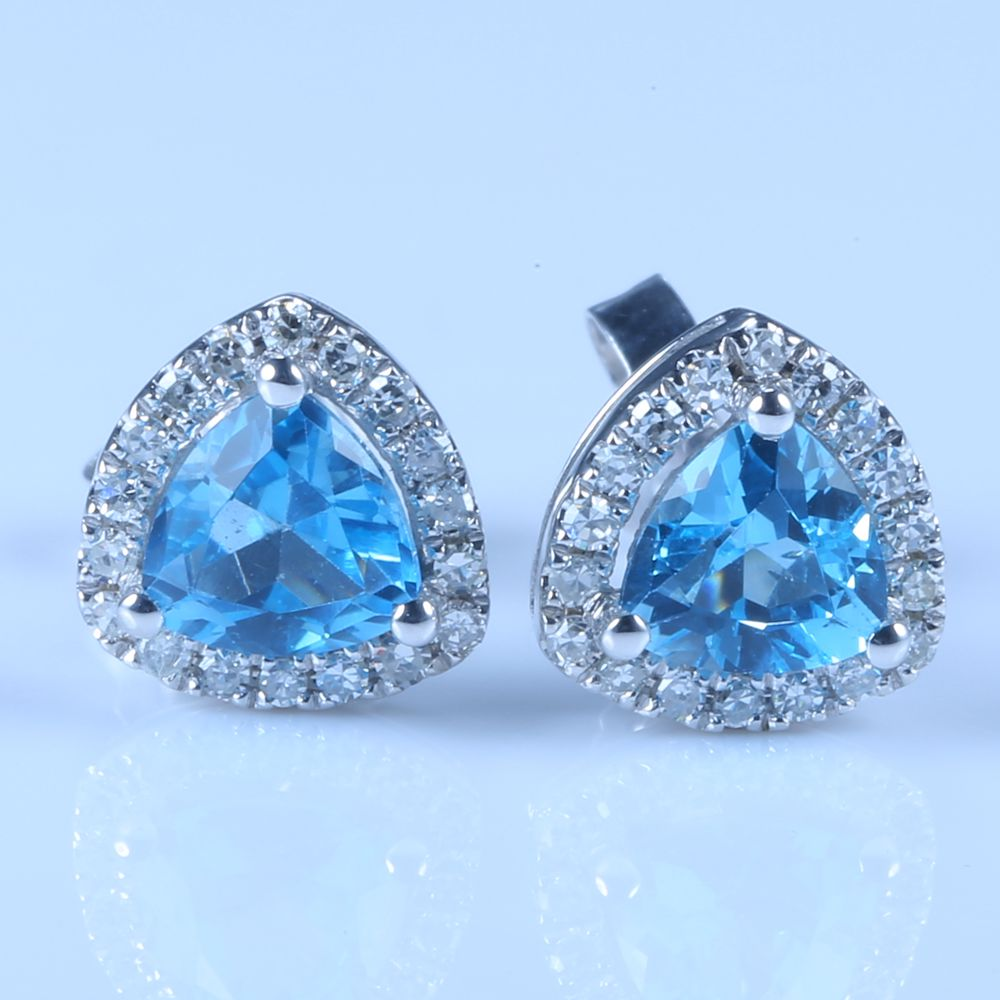 Women Diamonds Earrings Solid 14k White Gold 4.5mm Natural Swiss Blue Topaz Engagement Wedding Fine Jewelry 0 28 ct natural diamonds earrings solid 14k white gold snow shape charm jewelry