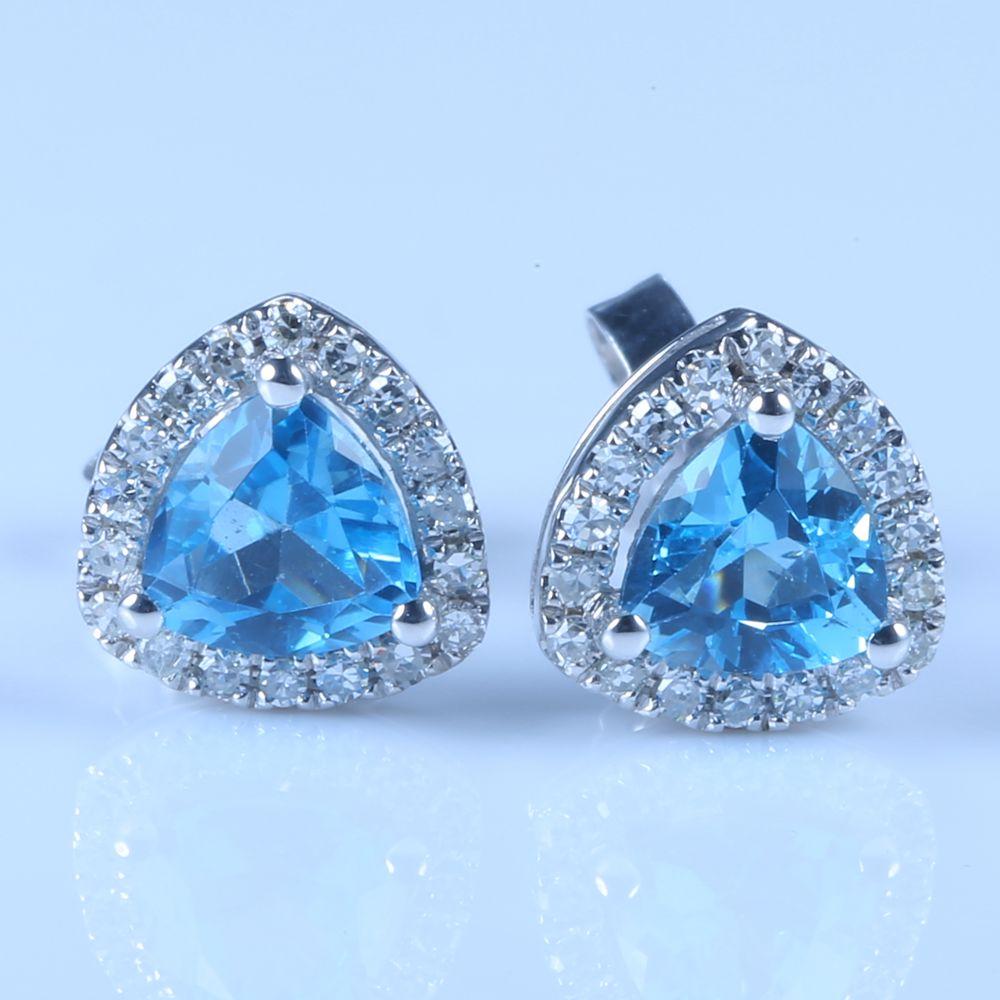 Women Diamonds Earrings Solid 14k White Gold 45mm Natural Swiss Blue Topaz  Engagement Wedding Fine