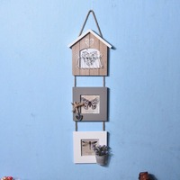 1 Set DIY Wall Picture Wood Photo Hanging Frame Album Clip Decoration