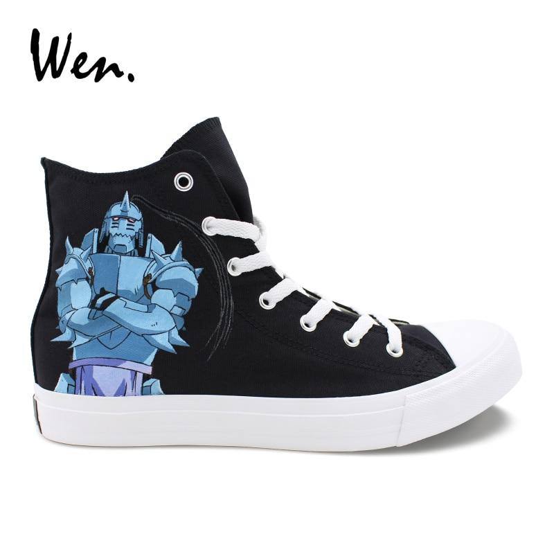 Wen Hand Painted Shoes Design Anime Fullmetal Alchemist Unisex Black High Top Canvas Casual Sneakers Boy's Flats Plimsolls